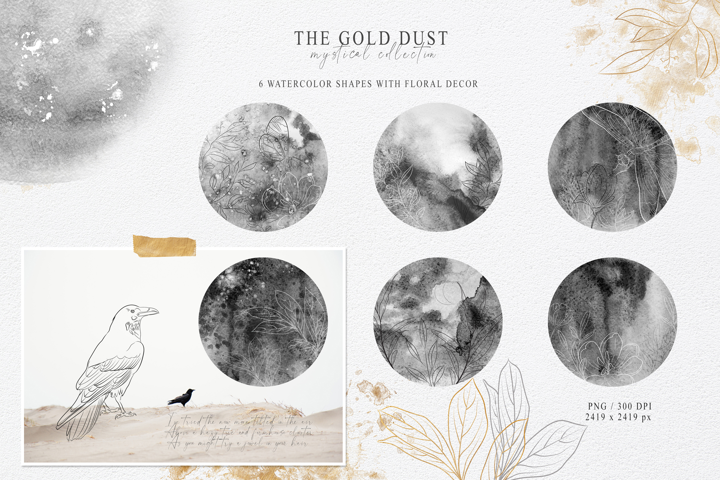 Watercolor Floral Moon Phase Clipart and Line Art