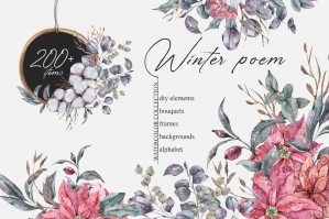 Winter Christmas Watercolor Floral Collection