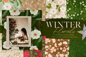 Winter Florals Seamless Papers