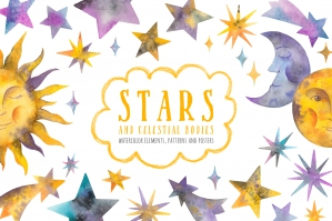 Watercolor Stars & Celestial Bodies - Illustrations and Patterns
