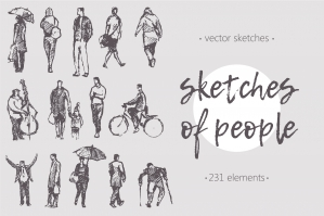 Big Collection of Sketches of People