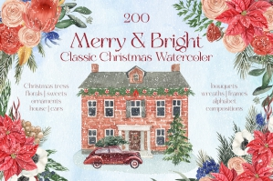 Merry & Bright Classic Vintage Christmas Watercolor Clipart