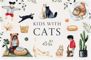 Watercolor Kids with Cats
