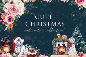 Cute Christmas - Watercolor Winter Clipart with Tigers